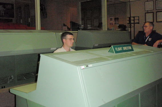 Dan in the Flight Director's Chair in the Old Apollo Mission Operations Control Room in Houston, TX.