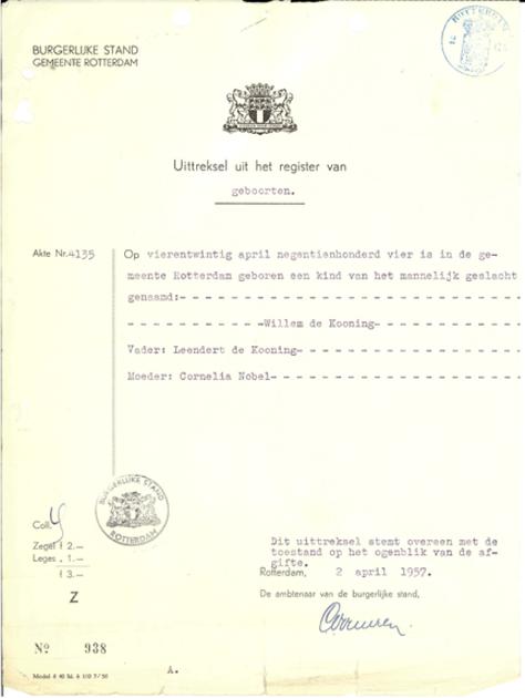 Rotterdam Birth Registration for Willem de Kooning