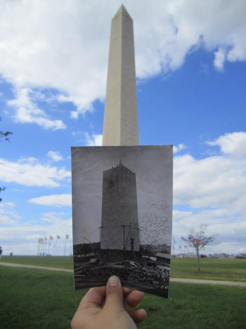 Photograph of the Washington Monument Foundation Construction in Washington, DC, ca. 1876.  ARC ID 596327.