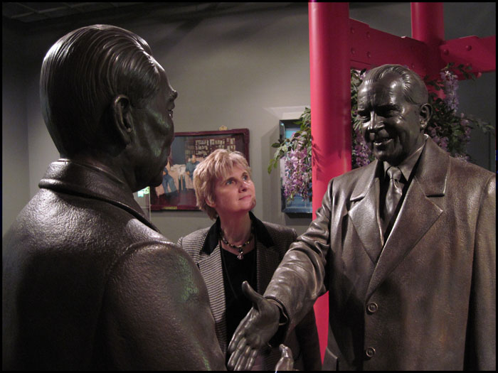 Pam with statues in Museum gallery (Can you name these familiar faces?)