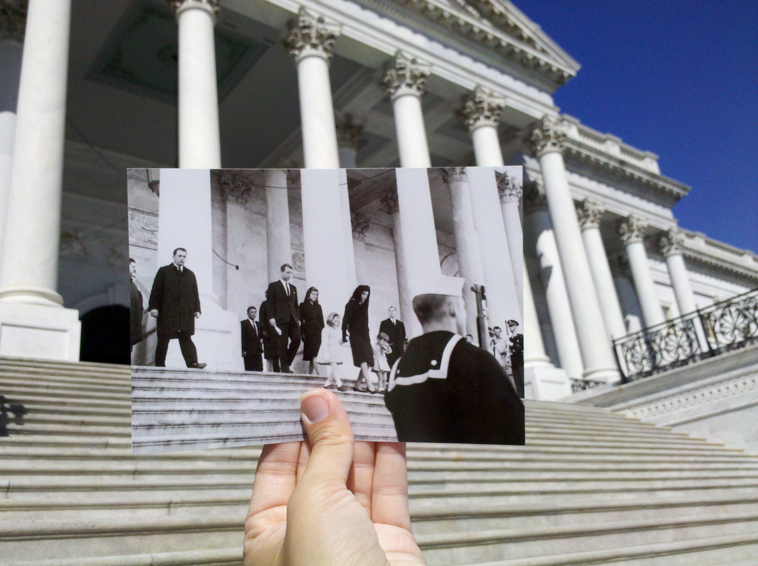 Photograph of the John F. Kennedy Family Members Leaving the Capitol Building, 11/24/1963.  ARC ID 595952.