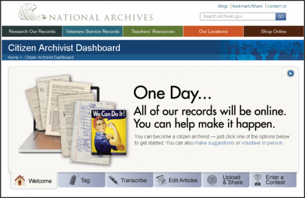 Citizen Archivist Dashboard Home Page