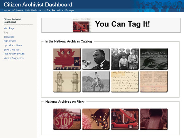 Citizen Archivist Dashboard Tagging Missions