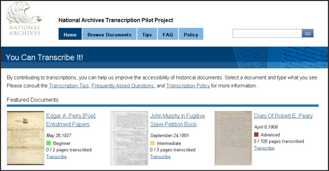 Transcription Pilot Project Homepage
