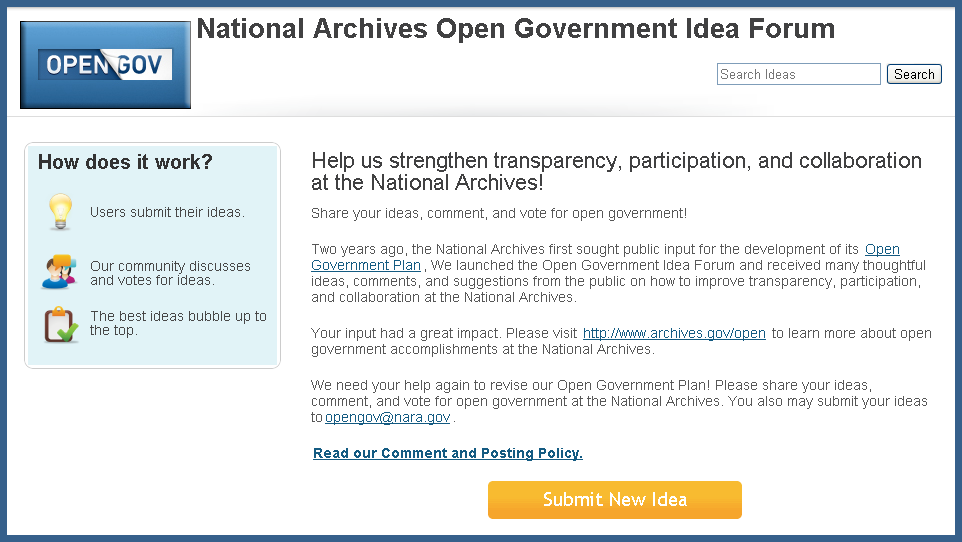 Screen Shot of the Open Government Idea Forum