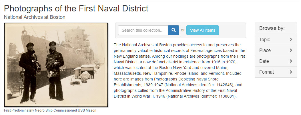 Digital Commonwealth landing page for the Photographs of the First Naval District