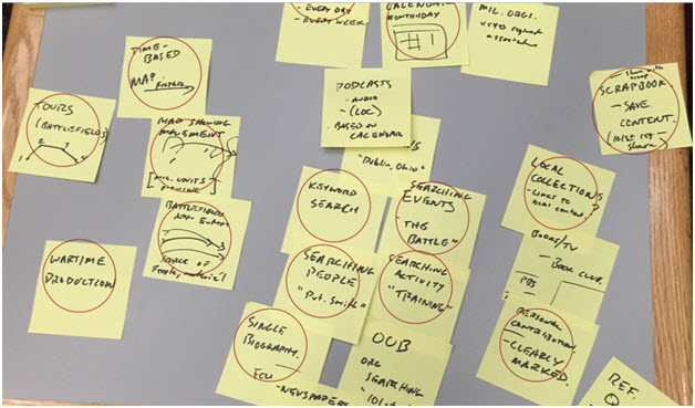 A flurry of Post-it notes recording feedback during an app workshop.