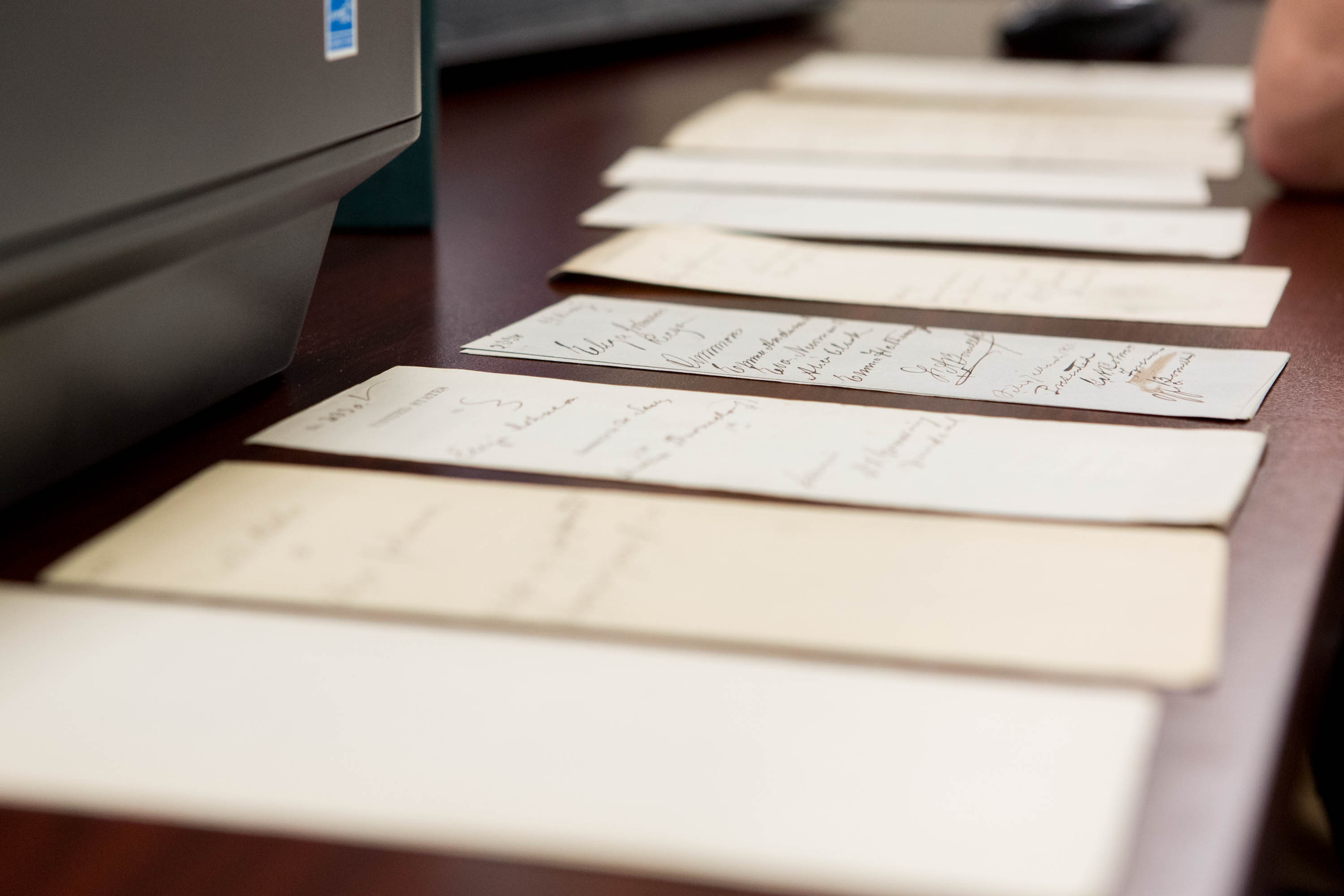Documents scanned by a group of high school students who volunteered in the digitization lab at the National Archives in Washington, DC, on July 20, 2016.