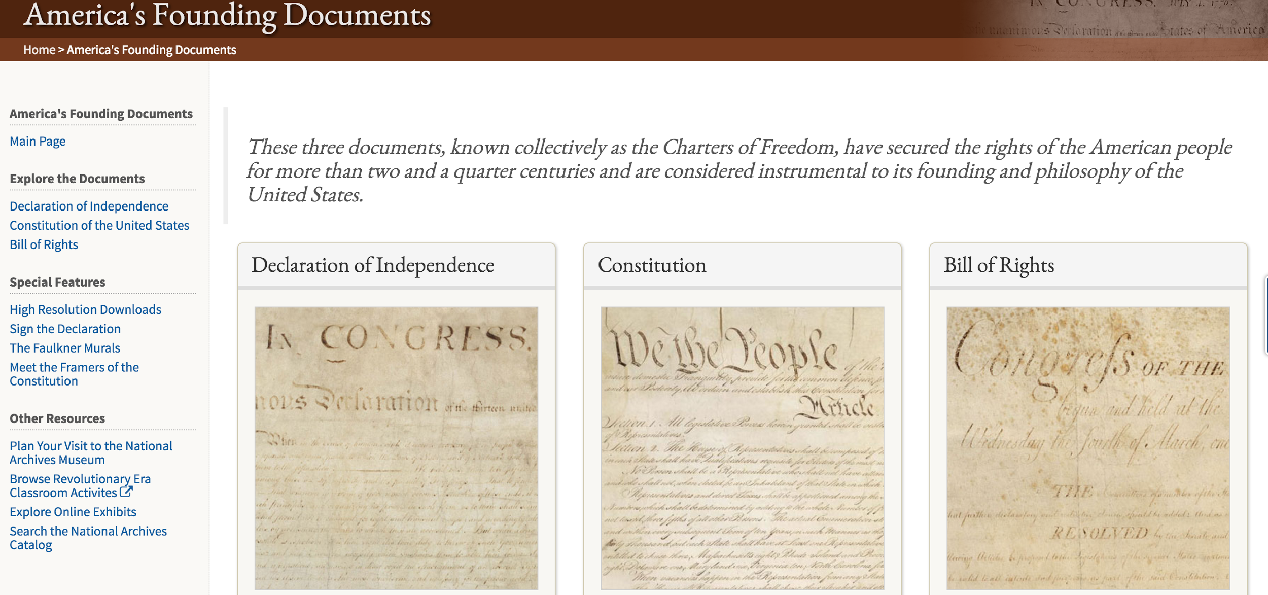America's Founding Documents page screenshot