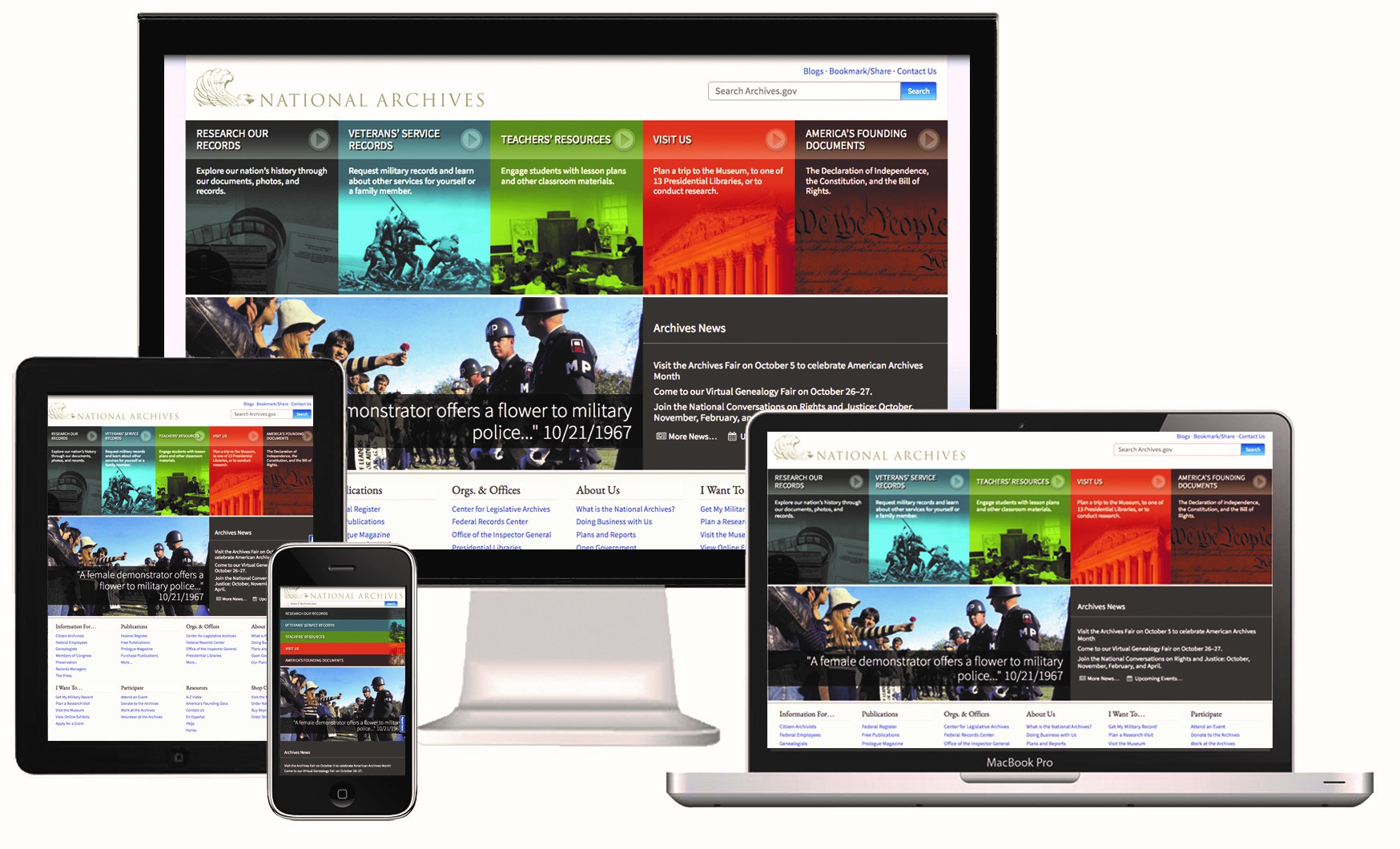 Images of responsive site on various sized screens