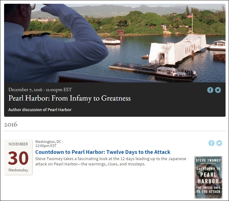 """Screenshot of events list, featuring image from the event """"Pearl Harbor: From Infamy to Greatness"""""""