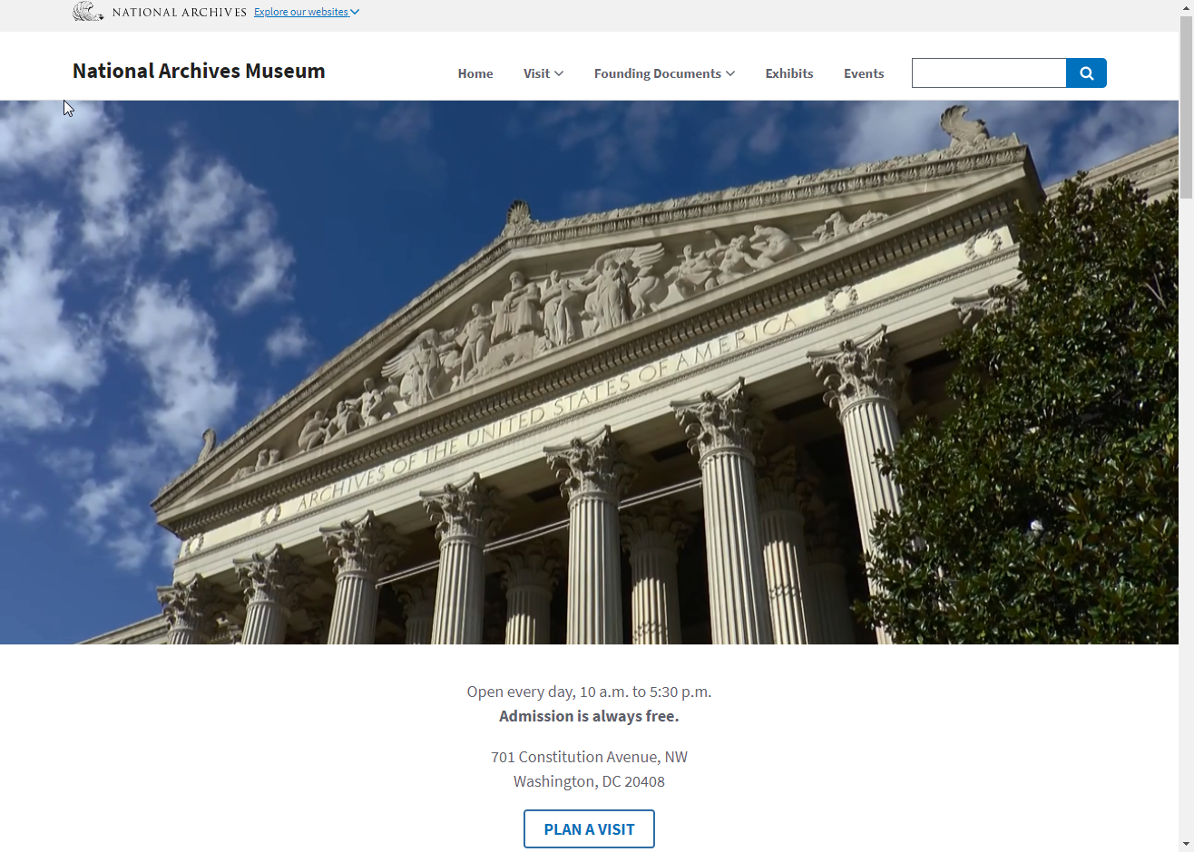 Redesigned Museum homepage screenshot, showing facade of National Archives building in Washington, DC, site menus, and address and visiting hours.