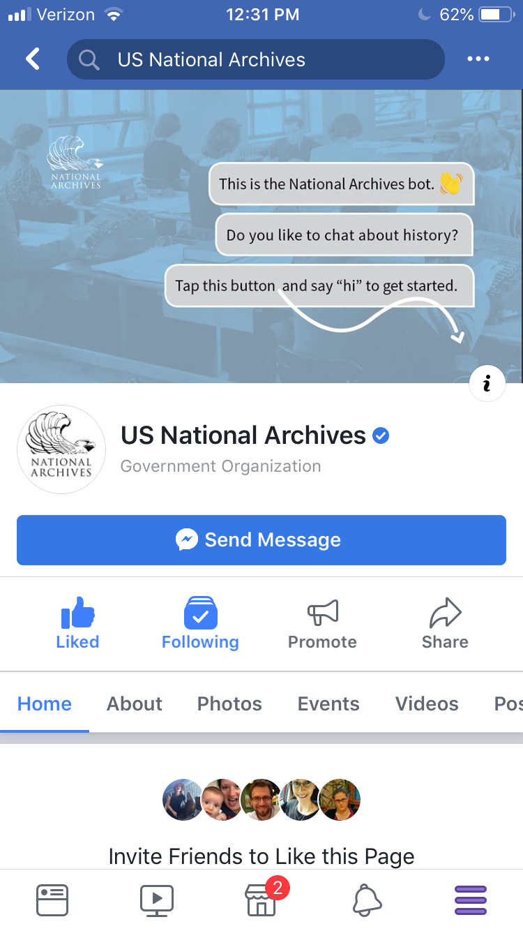 Screenshot of US National Archives Facebook page