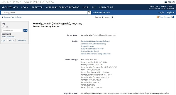 Screenshot of Kennedy, John F. Person Name File in the National Archives Catalog.